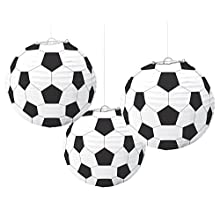 amscan 240178 Soccer Goal Birthday Party Paper Lanterns Decoration (3 Piece) Kit Ball Design, Multicolor, One Size