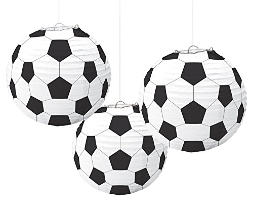 Amscan 240178 - Hängedekoration, Lampions Fußball, 3 Stück, ca. 24 cm