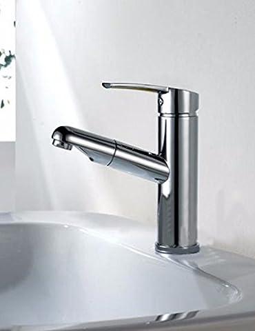 SDKKY L'ensemble du bassin de cuivre robinet tire, tire, robinet bassin robinet télescopique extensible, chaud et froid