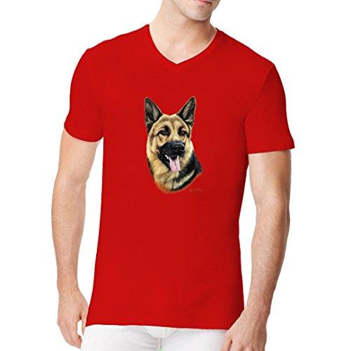 Im-Shirt - T-Shirt Motiv: Deutscher Schäferhund cooles Fun Men V-Neck - verschiedene Farben Rot