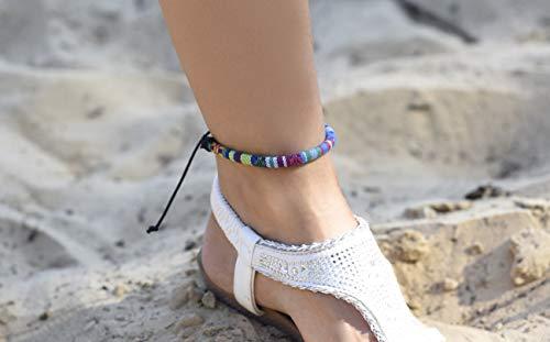 Surfer Fußkettchen Boho Ethno Look - Made by Nami - Fußbändchen Fußband Damen & Herren Festival Hippie Style - Türkis