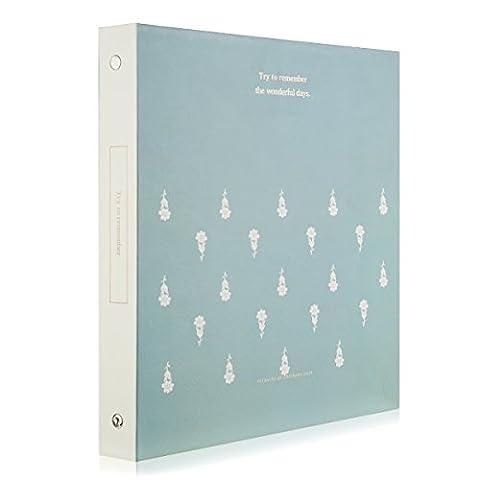 Woodmin Eingefügt Seite Foto Album 100 Pocket Hold 4x6 Fotos, Instax Picture Sammeln Buch mit einem Message-Box, Name-Karte, Memo ,Ticket Inhaber (Blaue Blume)