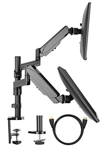 HUANUO Soporte de Monitor Dual con Doble Brazo para Ordenador de Pantalla de 17 a 32 Pulgadas - con Abrazadera C/Base de arandela - Cada Brazo soporta hasta 8 kg