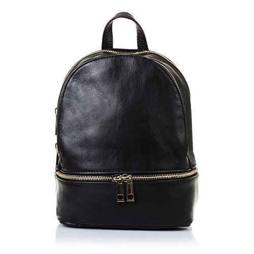 FIRENZE ARTEGIANI.Zaino da donna casual in vera pelle. Borsa zaino in vera pelle Savage tatto morbido. MADE IN ITALY Vera Pelle Italiana. 19 x 24 x 10 cm. Colore: nero.
