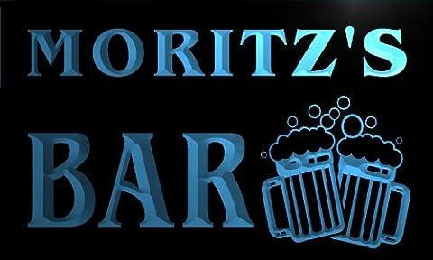w005236-b MORITZ'S Nom Accueil Bar Pub Beer Mugs Cheers Neon Sign Biere Enseigne Lumineuse