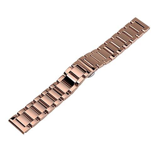 Herren Damen gerade Ende massiv Edelstahl Uhr Armband Band Armband (Rosa Gold) unisex 22mm