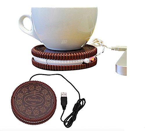 Mustard Cookie USB Tassenwärmer mit Stromversorgung über USB, Keks Optik, Kaffee, Tee, warm