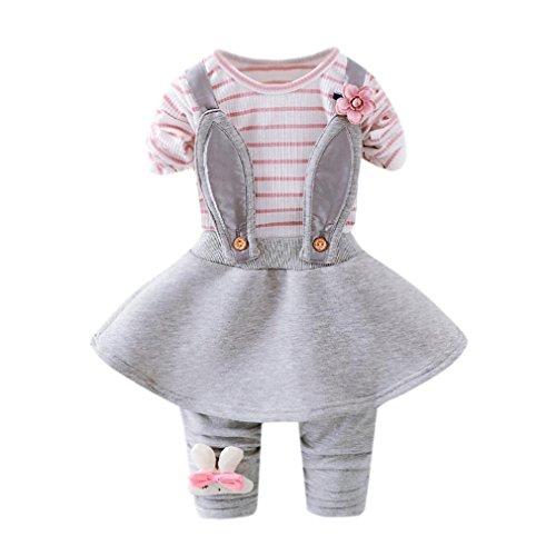 Baby Mädchen Kleid Longra Nettes Kleinkind Baby Herbst-Winter Streifen Kaninchen Blumenkleid langes Hülsen-Prinzessin-Bügel-Kleid(0-24Monate) (80CM 6Monate, Pink)