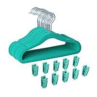 Finnhomy Non-Slip Clothes Hanger for Baby and Kids 30-Pack Velvet Hangers with 10 Finger Clips, Teal