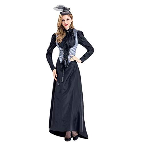 Binggong Damen Halloween Cosplay Kostüm Langarm Kleider Vintage Maxikleider Frau Partykleid Hemkleid - Vintage St Patricks Tag T-shirts