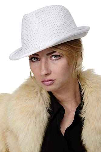 Kostüm Chicago Musical - DRESS ME UP - Karneval Fasching Halloween Damen Herren Hut Fedora Gangster Chicago Pimp weiß - VJ-042-white