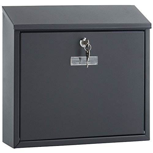 VonHaus Letterbox Wall Mounted Outdoor Postbox Mailbox with Cover - Black | Weather Resistant Galvanised Steel | Slim Line & Lockable Test