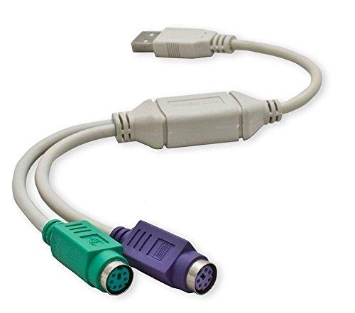 daorier USB a PS/2 PS2 adaptador 2 x Mini DIN de 6 hembra USB A Conector 2 x Ratón Teclado a USB, 1 pieza