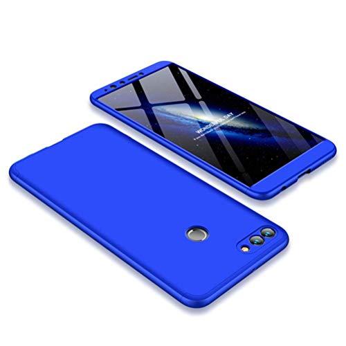 Preisvergleich Produktbild Homikon 360 Grad Hart PC Hülle 3 in 1 Komplettschutz Tasche Plastik Handyhülle mit Tempered Glas Panzerglas Ganzkörper-Koffer Schutzhülle Kompatibel mit Huawei P10 Plus - Blau