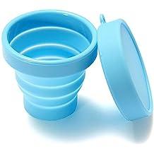 MagiDeal 170ml Tasse Mug Pliable Silicone avec Couvercle Voyage Camping Bleu