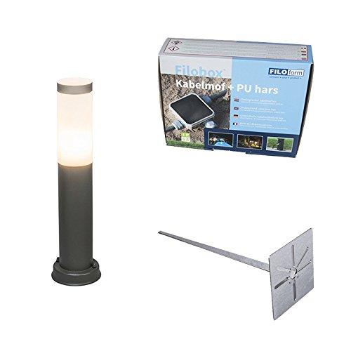 QAZQA Modern Außenleuchte/Wegeleuchte/Gartenlampe/Gartenleuchte/Standleuchte Rox Pfahl 45 cm mit Bodenspieß und Kabel/Außenbeleuchtung Kunststoff/Edelstahl Rund LED geeignet E27 Max. 1 x 20 -