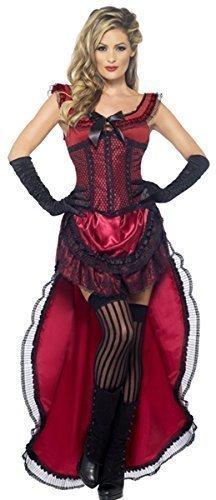 Damen Rote oder Pink Sexy Saloon-mädchen Burleske Puff Babe Wilder Westen Burleske Halloween Kostüm Kleid Outfit UK 36-46 - Rot, (Wildes Kind Kostüm Uk)