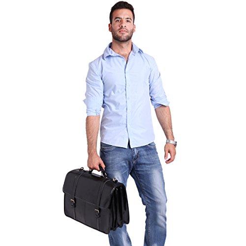 Leathario Herren Echtleder Aktentasche Arbeitstasche Businesstasche Laptoptasche Messenger Bag Bürotasche Umhängetasche Schultertasche Handtasche Unitasche Henkeltasche, Schwarz Schwarz