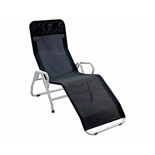 Preisvergleich Produktbild MFG 2603803 Bäderliege Pool 3, Stahlrohrgestell silber, Gewebe schwarz, 139 x 72 x 118 cm