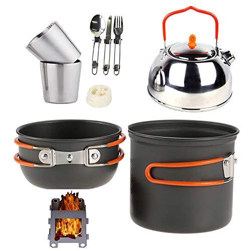 STOVESs Camping Kochgeschirr, Outdoor Camping Set Topf Teekanne Kombination Wandern Edelstahl Geschirr Kaffeekanne