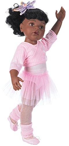 Götz 1159850 Hannah beim Ballett Afro - 50 cm große afroamerikanische Ballerina Stehpuppe mit schwarzen Haaren und braunen Augen in einem 15-teiligen Set - geeignet für Kinder ab 3 Jahren