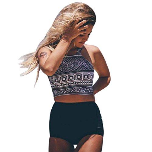 Hffan Badeanzug Damen Bikini Set Streifen zweiteilig Schwimmanzug Tankini Bademode Strand Bikini Push-Up tops Oberteile + Falbala Hoch tailliert Höschen Swimsuit Bathing (Sexy Schwarz, L) (Print Spandex-höschen)