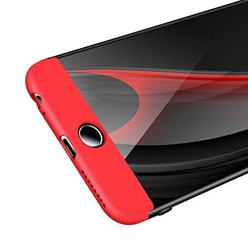 Coque iPhone 7, uiano® Protection 360 degrés Housse complète Protection 3 en 1 Combinaison Anti-Scratch PC Ultra-mince Coque antichoc Perfect Fit pour iPhone 7 Noir + Argent + verre trempé Noir + Or