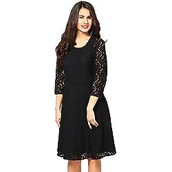 Fashion2wear Women's Stylish Black Net Stitched Latest Western Dress