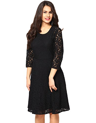 Fashion2wear Women's Western Dress (F2W-G-114-S, Black, Small)