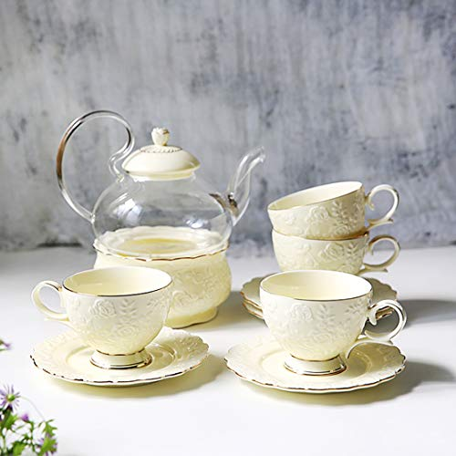 English Gilt Rose Edge Gold Afternoon Tea Set With High Temperature Burning European Flower Tea Set With Tea Cup Set Ceramic Glass Boiled Fruit Candle Teapot