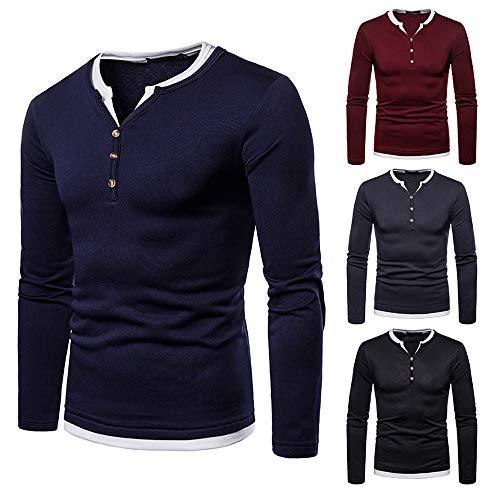 MEIbax Herren Casual Brushed V-Ausschnitt Langarm Button Shirt Top Henley Hemden Freizeit Oberteile