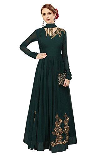 Ethnic Yard Women's Georgette Anarkali Salwar Suit(EEY_F1141 Green Free Size)