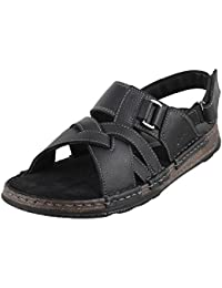 METRO Men BLACK LEATHER Sandals ( 18-595 ) 18-595-11-BLACK