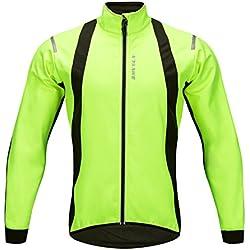 WOSAWE Chaquetas para Hombre, Chaqueta Ciclismo, resistente a la lluvia a prueba de salpicaduras térmica de alta visibilidad de color silver reflectante de OpenRoad Sports Color verde Talla M