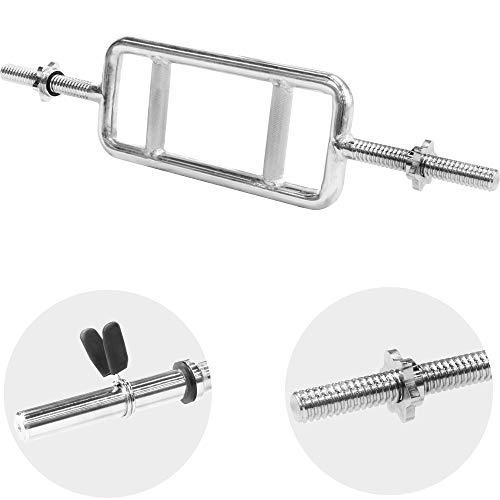 GORILLA SPORTS® Trizeps-Stange Chrom 30/31 mm - Standardnorm gerändelt mit Federverschluss bis 200 kg belastbar