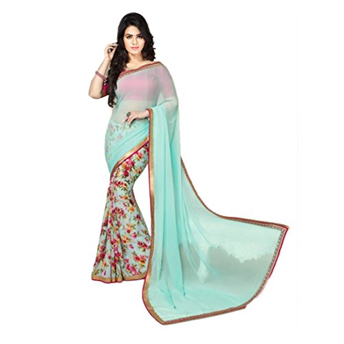 Janasya Women's Sea Green Half Half Georgette Printed Saree (JNE0927-SRE-SEAG...  available at amazon for Rs.499