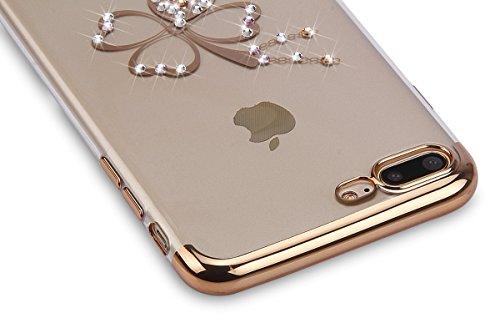 Coque iPhone 6 Plus ,Coque iPhone 6S Plus, Coque Silicone Gel 360 Protection intégral iPhone 6/6S Plus Glitter Etui,Ukayfe [Full-Body 360 Coverage Protective] Bling avec brillants Glitter Paillette Ho trèfle