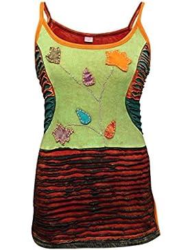 Recortado bordado de estilo Vintage, multicolor Decolorado Hippie Festival-Camiseta de tirantes