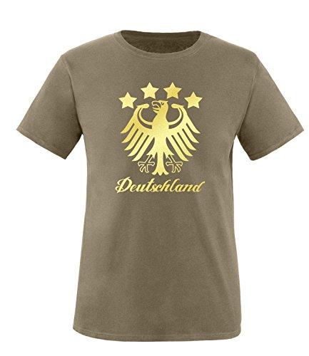 Luckja EM 2016 Deutschland Fanshirt Gold Edition M 01 Herren Rundhals T-Shirt Oliv/Gold