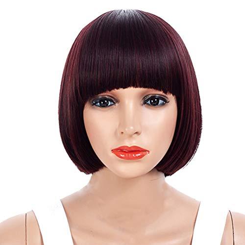 Dgaddcd Realistisch Kurz Gerade Perücke, Synthetik Haar Frauen Mädchen Perücken Kopfbedeckung Kappe, mit Knallt, Kastanienbraun -
