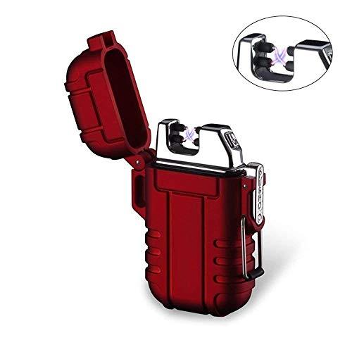 Plasma-Feuerzeug, Teepao Dual Arc Lighter, USB wiederaufladbar, flammenloses Feuerzeug, winddicht, elektrisches Taschenfeuerzeug mit Umhängeband für Smoker Kerze Pfeife Grill Camping, rot