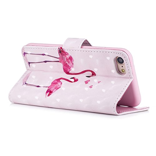 Cover iPhone 7, Custodia iPhone 8, Cover Flip Portafoglio in Pelle + Case in Silicone TPU Morbido, Surakey 2 in 1 Cassa del Telefono [Elegante Wallet con Porta Carte] Custodia a Libro Chiusa Magnetica Flamingo