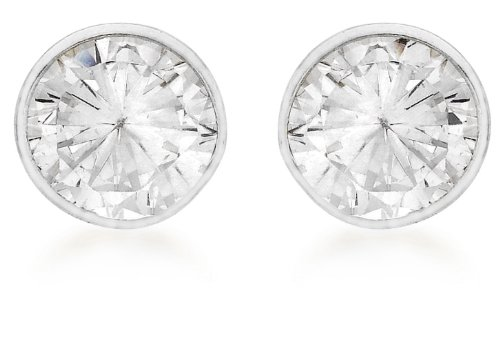 Tuscany Silver Sterling Silver 5mm Round Cubic Zirconia Stud Earrings