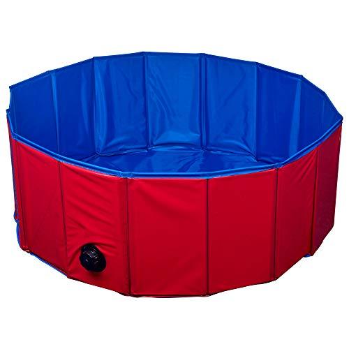 URBN-TOYS Große und mittelgroße Faltbare Haustier-Badewanne, für den Garten, Rot/Blau, 2 Stück -