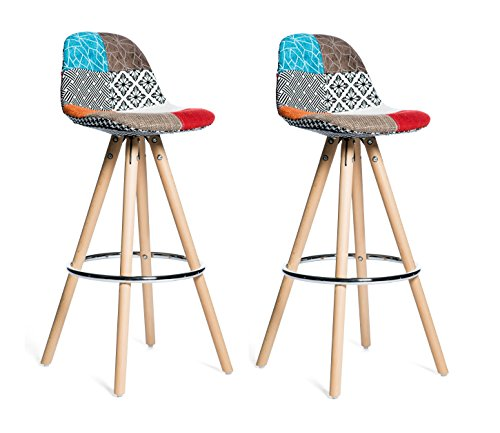 Meubletmoi Lot 2 tabourets de Bar Patchwork Tissu Design Multicolore avec Repose-Pieds métal et piétement en Bois - Diana