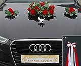 ECHTER ROSESTRAUSS Auto Schmuck Braut Paar Rose Deko Dekoration Autoschmuck Hochzeit Car Auto Wedding Deko (Rot + Tauben)
