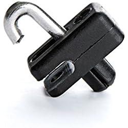 50 Stck. Spanndrahthalter, Zaundrahthalter, Drahthalter für Gartenzaun PVC schwarz mit V2A Spange