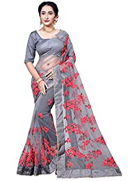 Surat Creations Designer Grey Net Saree With Red Thread Embroidery And Moti Lace Border