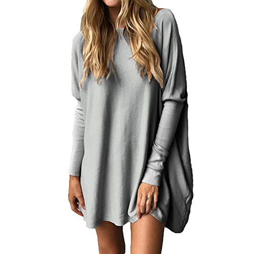 Maglione Donna Maglie Manica Lunga Camicette Autunno T-shirt Allentate Pullover Lungo Casuale Grigio Rosa Nero Bianco Verde Bianco M-XL Juleya Grigio