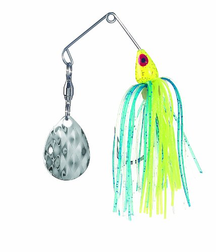 Strike King Mini-King Spinnerbait - Single Colorado Diamond Blade, Herren, Chartreuse Head Chartreuse/Blue/Silver Skirt -